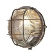 Admiral Solid Brass Round Outdoor Wall Light in an Antique Copper Finish IP64 - DAVID HUNT ADM5064